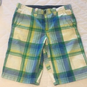 Boys plaid flat front shorts